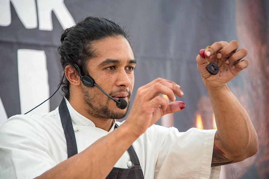 Chef Matt Gillan on the Live Food Show stage, Brighton and Hove Food Festival Spring Harvest 2017