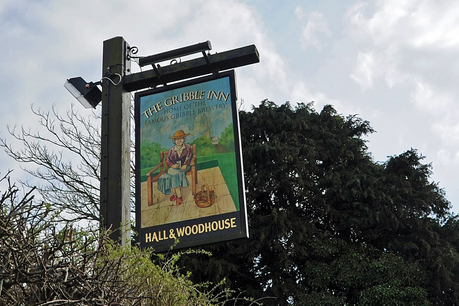 The sign for the Gribble Inn in Oving near Chichester, West Sussex