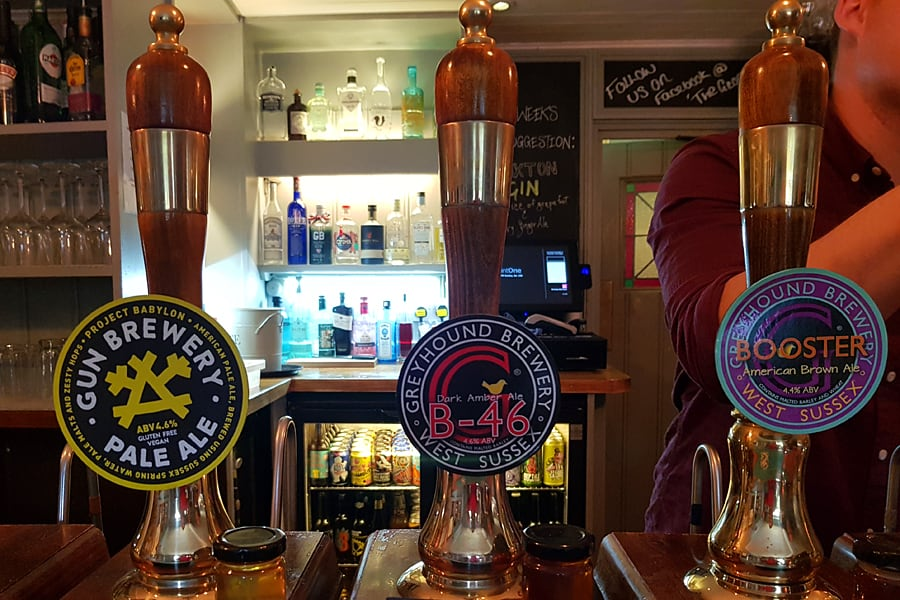 Sussex beer at The George, Eartham, West Sussex, England