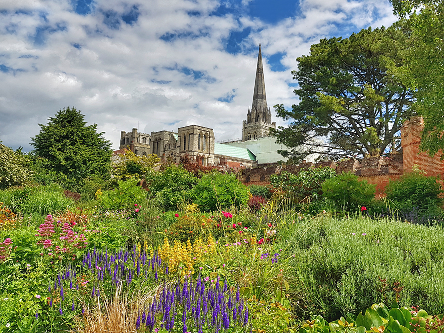 Stunning flower dispay with a backdrop of Chichester Cathedral, one of our favourite gardens in Sussex