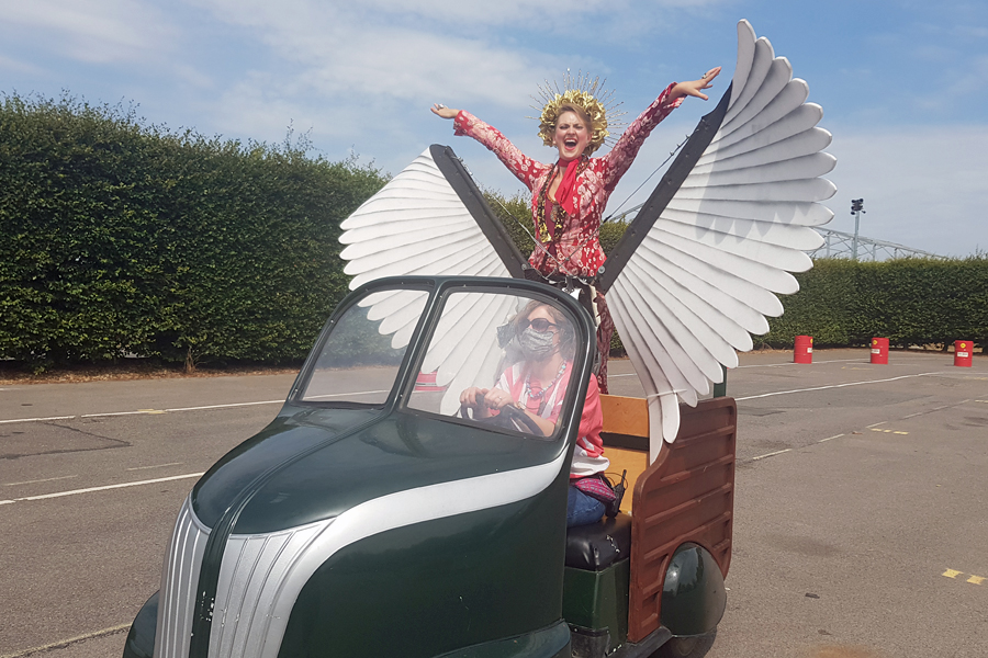 Frankie Starlight in her winged chariot