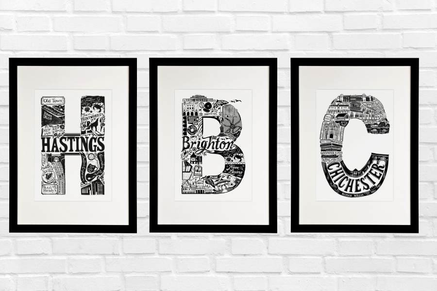 Monochrome letter prints by 'Lucy loves this'